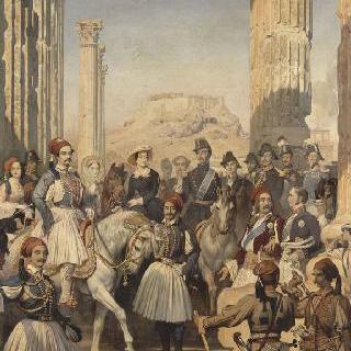 아테네의 폐허지를 방문하는 몽팡시에 공작과 시종들