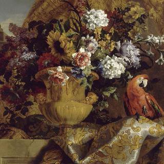 꽃, 앵무새와 황금빛 화병