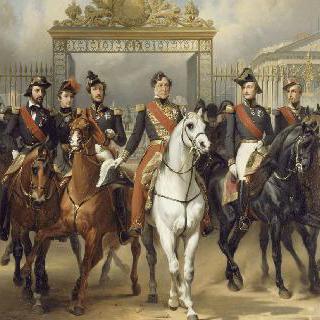 1837년 6월 10일 베르사유 궁전을 나오는 아들들을 뒤따르는 루이 필립 왕
