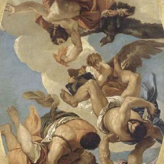 죄악을 저지른 사람들을 벼락으로 치는 제우스
