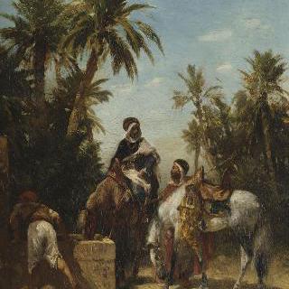 물통에서 물을 마시는 말을 타고 있는 아랍인