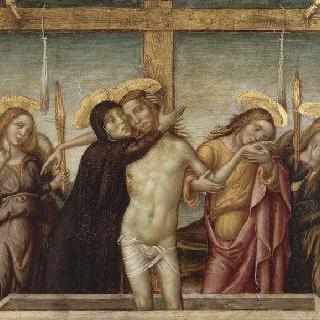 두 천사가 부축하고 있는 연민의 그리스도