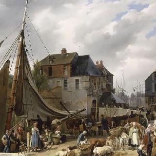 옹플뢰르 항구에서 가축들의 승선