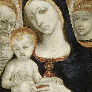 두 명의 성인과 두 천사 사이의 성모와 아기 예수