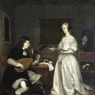 여가수와 티오르바 류트 연주자의 듀엣