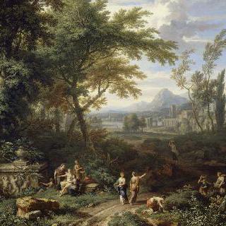 무덤 주위의 요정들이 있는 풍경