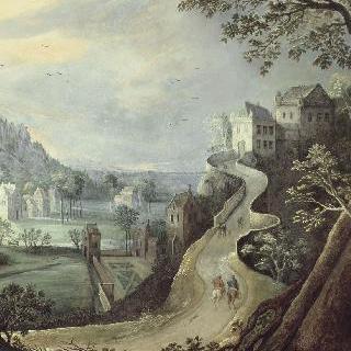오르막길과 두 명의 기사가 있는 풍경