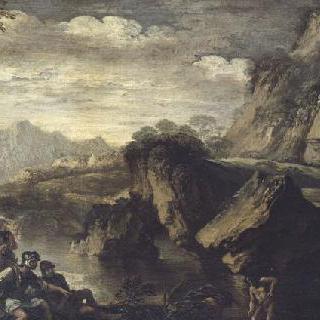 산악 지대 호숫가의 병사들이 있는 풍경