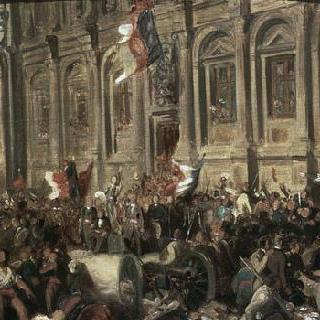1848년 2월 25일 시청에서 혁명의 붉은 깃발을 물리치는 라마르틴