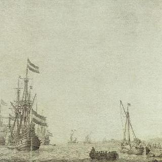 바닷가, 강가 부근에 닻을 내린 네덜란드 배