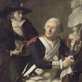 라파이예트 흉상 앞에 앉아있는 라 투르 도베르뉴가의 척탄병