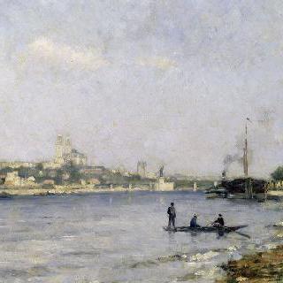 파시의 센 강, 자벨 역에서 본 그르넬 다리와 트로카데로