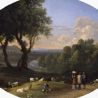 염소와 목동이 있는 풍경