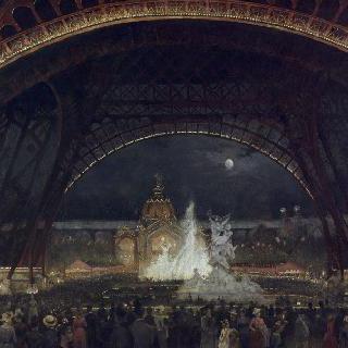 에펠탑 아래 1889년 국제 박람회의 야간 축제
