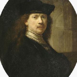 건축물을 배경으로 챙없는 모자를 쓴 렘브란트