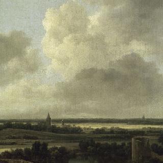 폐허가 된 성과 교회가 있는 풍경