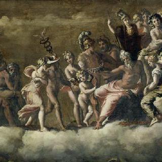 올림푸스산으로 초대받은 프시케 : 나폴리의 베르나르디노 로타 왕궁의 장식 요소