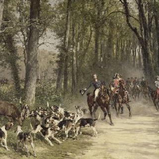 1841년 실비 숲에서의 기마 수렵하는 오를레앙 공작