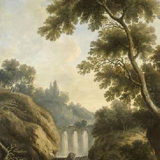 바위산 사이로 폭포와 수로가 있는 풍경