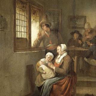 내부 모습: 아기를 젖먹이는 여인과 창문에 팔을 괴고 있는 남자