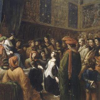 샤를 6세에게 오를레앙공의 암살범에 대한 정의를 간청하는 발랑틴 드 밀랑