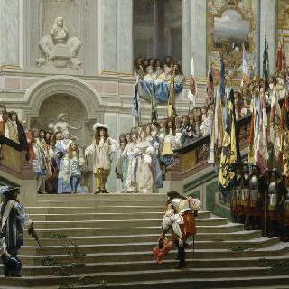 베르사유 궁전에서 콩데 대왕을 맞이하는 루이 14세