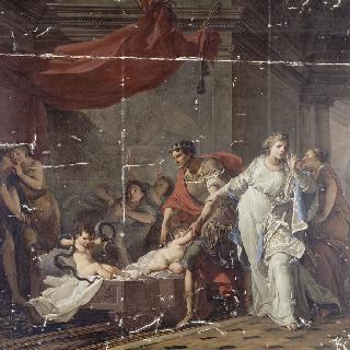요람에서 두 마리의 뱀을 목졸라 죽인 어린 헤라클레스