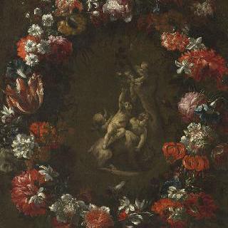 염소와 놀고 있는 아이들과 꽃