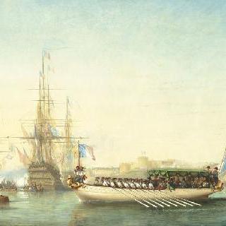 1843년 8월 30일 브레스트 정박지에 작은 보토로 승선하는 느무르 공작과 공작 부인