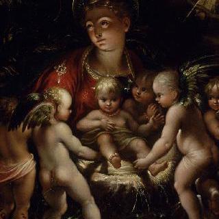 천사들의 경배를 받는 아기 예수와 성모