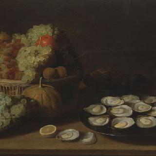 굴과 과일들