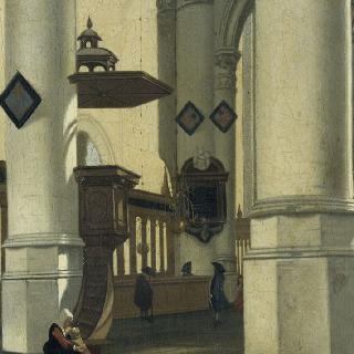 설교단 아래의 여인이 있는 성당 내부