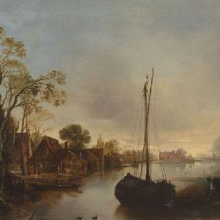 네덜란드의 운하 기슭
