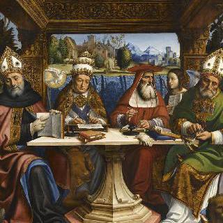 4 사도의 상징물과 네 명의 교회 박사