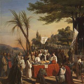 1100년 7월 23일 예루살렘의 골고다 언덕 위 고드프로아 드 부이용의 장례식