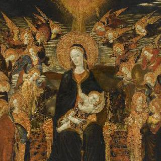 천사들에게 둘러싸인 성모와 아기 예수