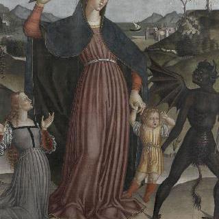 악마의 지배에 있는 아이를 구하는 구원의 성모