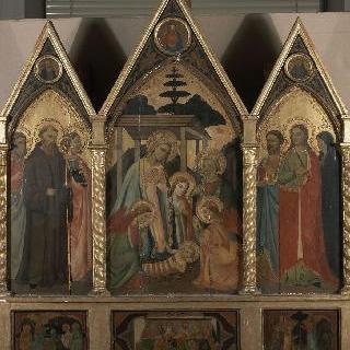 성인들로 둘러싸인 아기 예수의 탄생