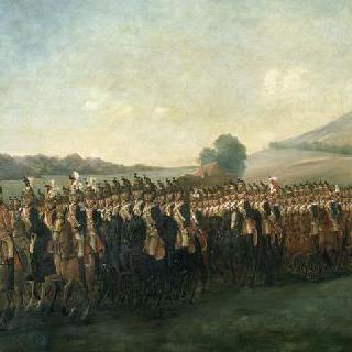 사블롱 평야에서 오를레앙 용기병들의 열병식