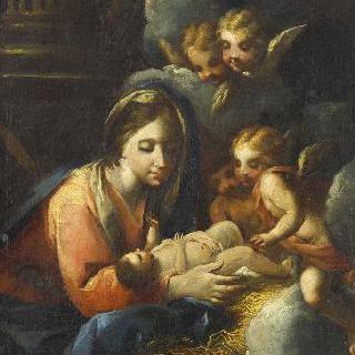 천사들에게 경배받는 성모와 아기 예수