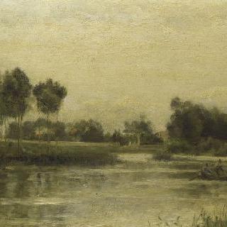 작은 배가 있는 강가