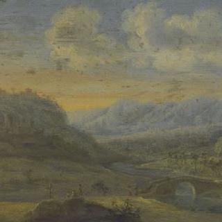 인물들이 있는 산의 풍경