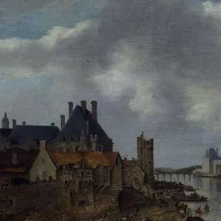 퐁네프에서 바라본 느제르 시청, 루브르 대 회랑과 네슬 탑