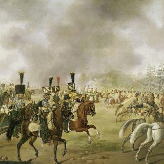 코사크병들에게 대항한 기마 병사 제 5 연대의 공격