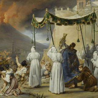 베수비오 화산의 분화시 나폴리 거리의 성 장비에 동상 행렬