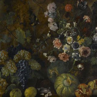 꽃, 과일과 채소가 있는 정물