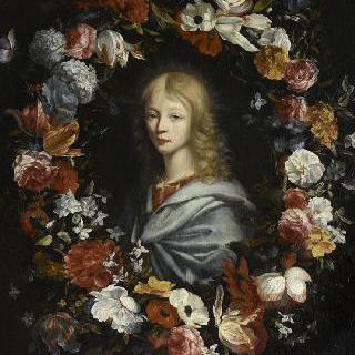 꽃으로 테두리를 장식한 청년의 흉상