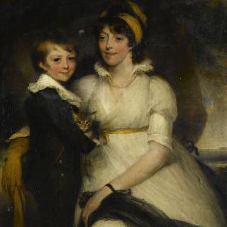 고양이를 안고 있는 소년과 젊은 여인