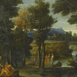 고대풍의 옷을 입은 사람들이 있는 강가의 풍경