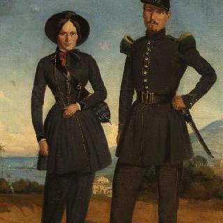 1845년 경 알제리의 보병 대대의 병사와 군대 식당 여자 관리인